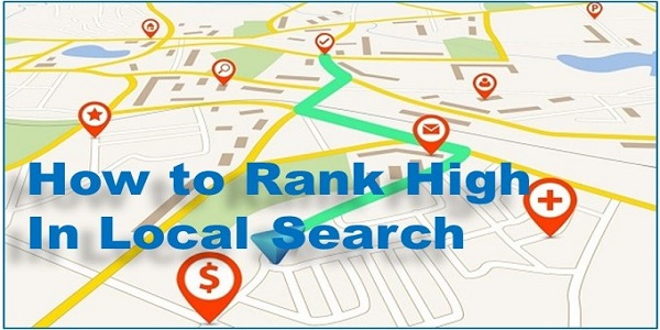image of map with the title how to rank high in local search