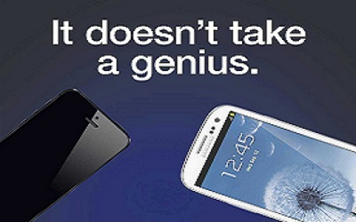 image of samsung mobiles with the words it doesn't take a genius.