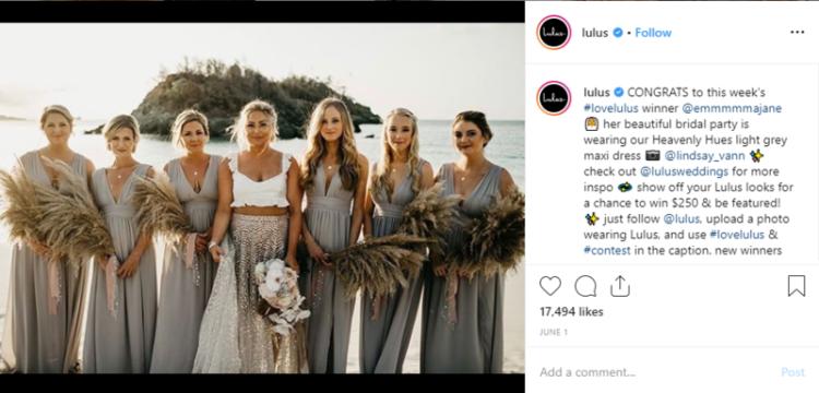 image of ladies wearing lulus wedding party dress on instagram.
