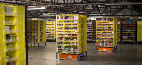 image of robots working in amazon warehouse.